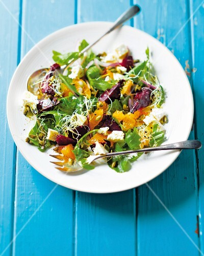 Beetroot salad with tangerines and pumpkin seeds