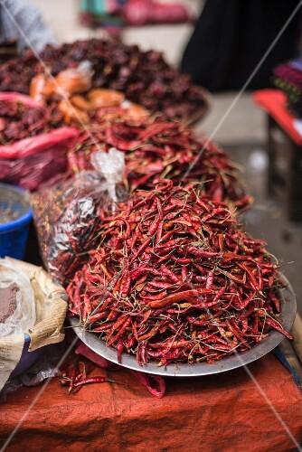 Red chillies at a street market in downtown Yangon (Rangoon), Myanmar (Burma), Asia