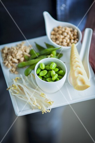 Assorted soya products on a tray