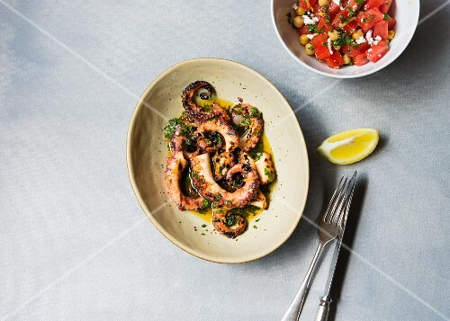 Grilled octopus with watermelon salad
