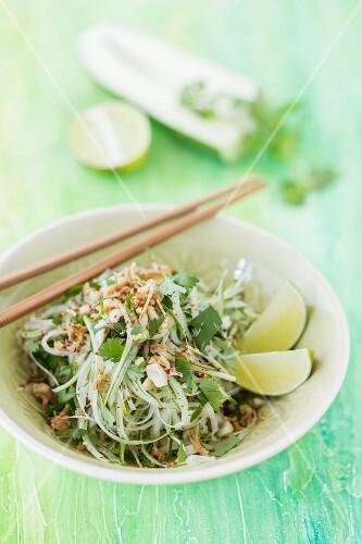 Thai Papaya salad with coriander, peanuts and crispy fried onions