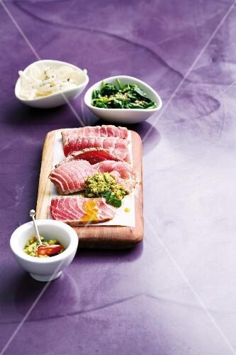 Marinated tuna with Asian gremolata