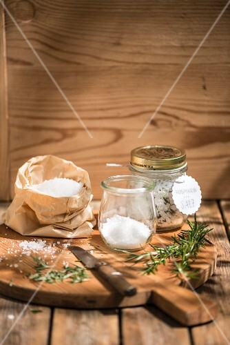 Home-made rosemary salt to give as a gift