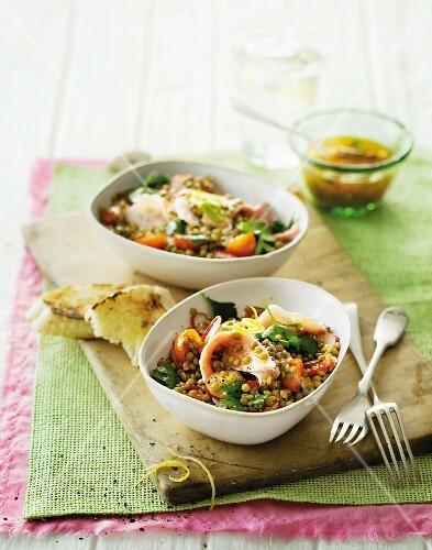 Using up leftovers: lentil salad with ham
