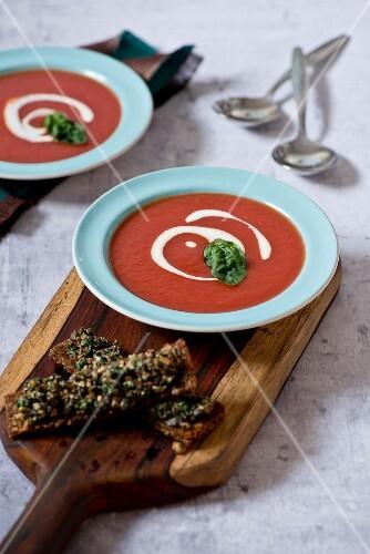 Tomato soup with basil and crėme fraîche