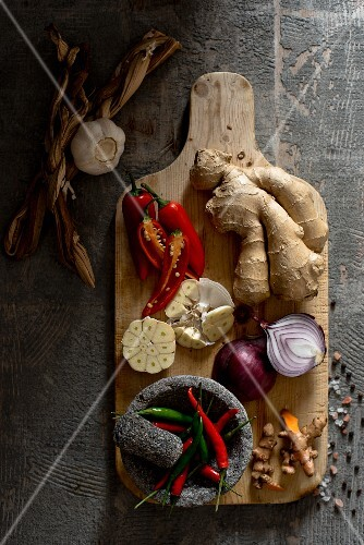 An arrangement of vegetables and spices