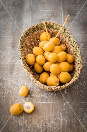 Fresh dates in a wicker basket