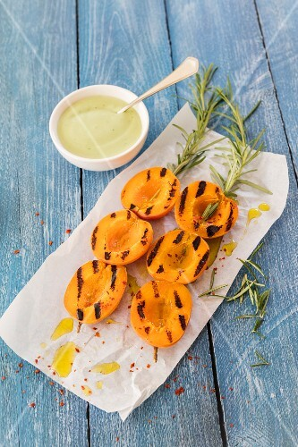 Grilled apricot kebabs with rosemary