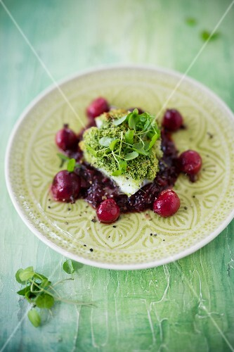 Rose fish on a bed of gooseberry chutney