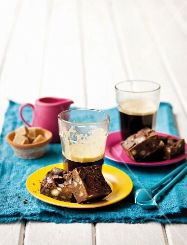 Chocolate brownies and coffee