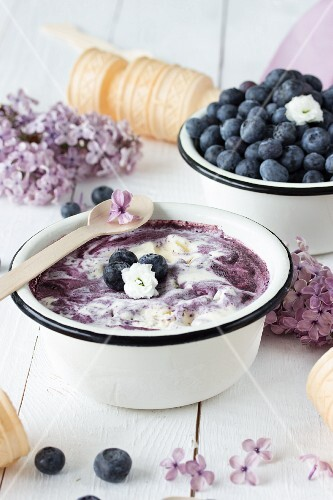 Blueberry ice cream with lilac blossom syrup