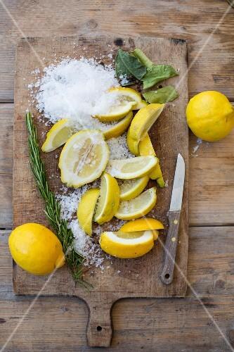 Ingredients for pickled lemons