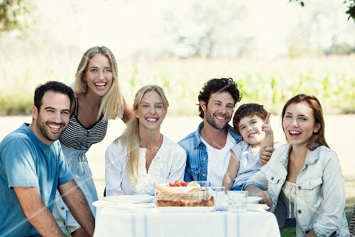 Family members at a garden table