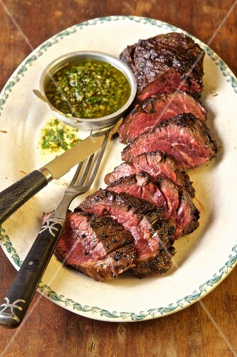 Hanger steak with chimichurri sauce