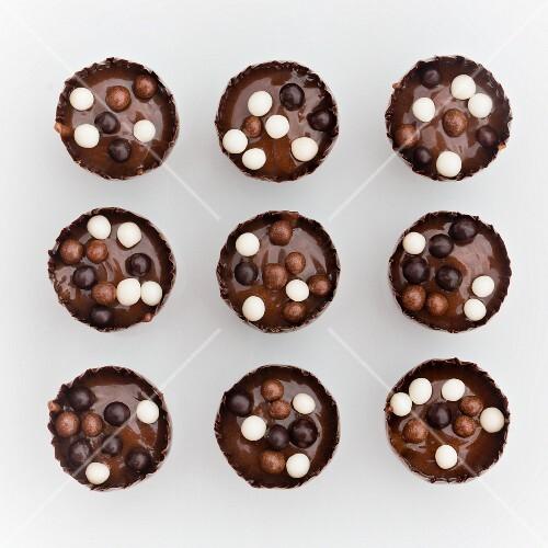 Chocolate truffles with crispy balls