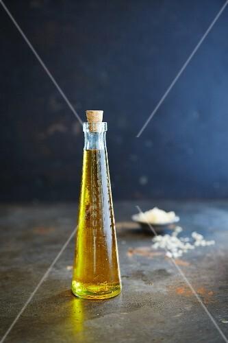 Rapeseed oil in a glass bottle