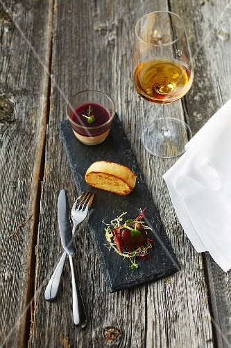 Goose liver parfait with dessert wine jelly and a glass of dessert wine