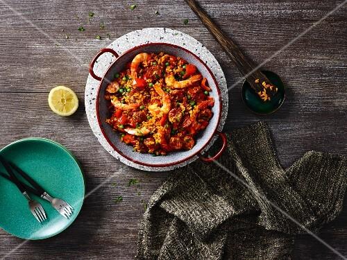 Paella with prawns and chorizo