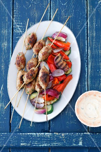Beef kofta with grilled vegetables