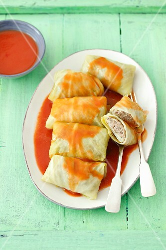 Polish Golabki (cabbage wrapped around a minced meat and rice filling)