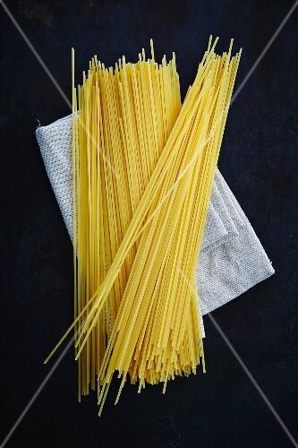 Spaghetti on a fabric napkin