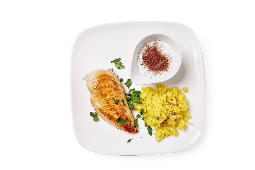 Chicken and rice with a yoghurt & sumac dip