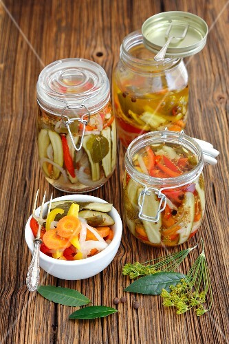 Pickled vegetables - cucumber, onion and pepper
