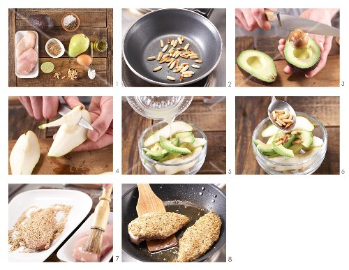 How to prepare chicken with a sesame seed coating on a bed of pear & avocado salad