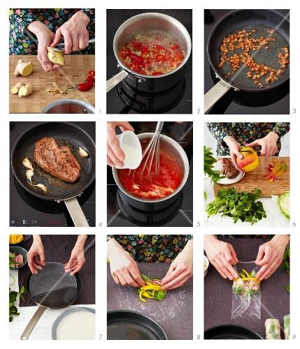 Reispapierröllchen mit Entenfleisch, Mango und Kräutern zubereiten