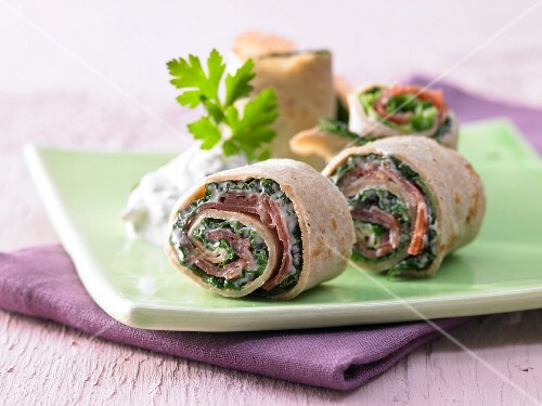 Pancake rolls with savoy cabbage and Parma ham