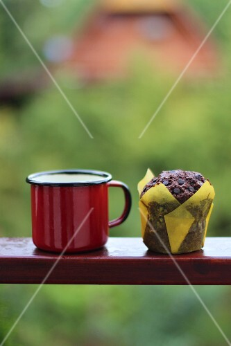 Tea and a muffin in a garden