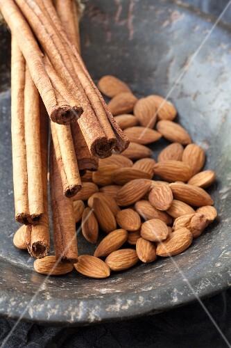 Almonds and cinnamon sticks