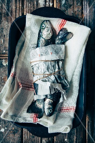 Fresh trouts wrapped in newspaper