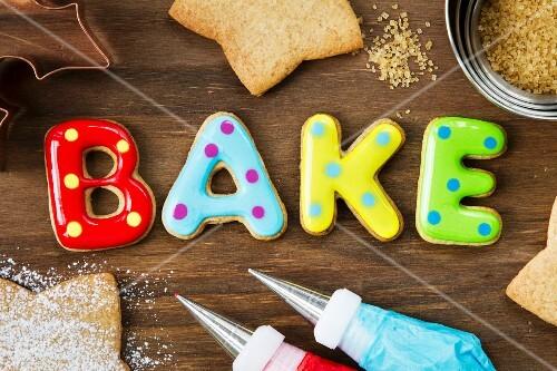 Cookies forming the word bake