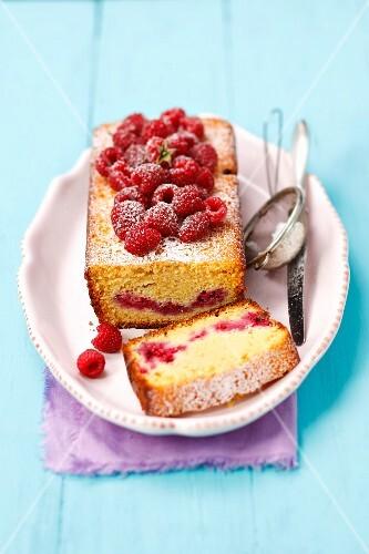 A raspberry loaf cake