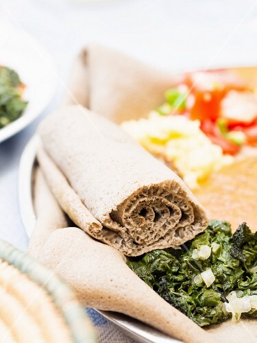 Rolled Ethiopian injera flatbread made with teff flour