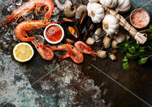 Seafood with fresh raw Mussels, Clams, Vongole, Prawns, Shrimps and Ingredients