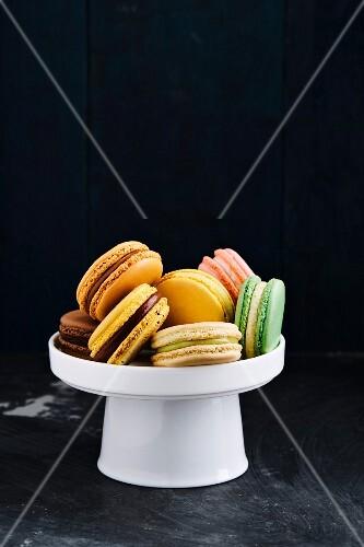 Macarons on small cake stand