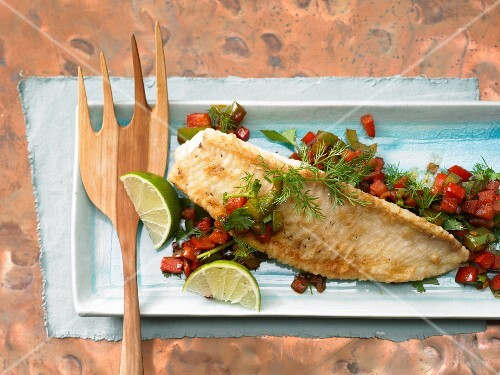 Fillet of wels catfish with peppers
