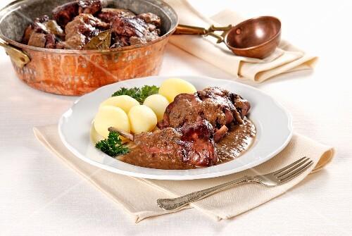 Lepre in civet (Italian venison braised in red wine)