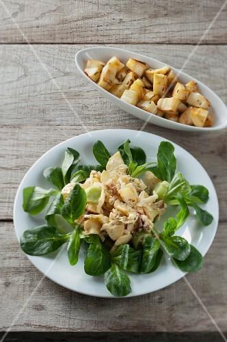 Parsnip, leek & apple salad with roast parsnip cubes