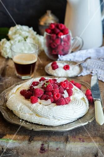 Pavlova with coconut and fresh raspberries
