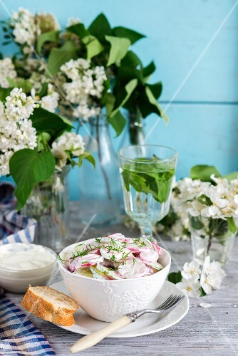 A salad with cucumber, radish, dill and a sour cream dressing