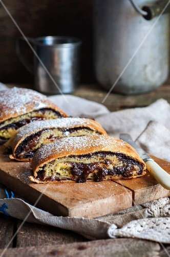 Yeast strudel filled with quark, jam and poppy seeds