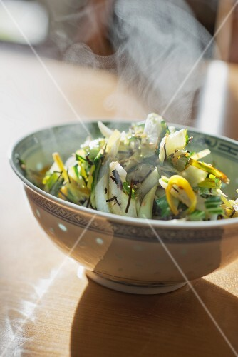 Wok-fried pak choi and Chinese cabbage