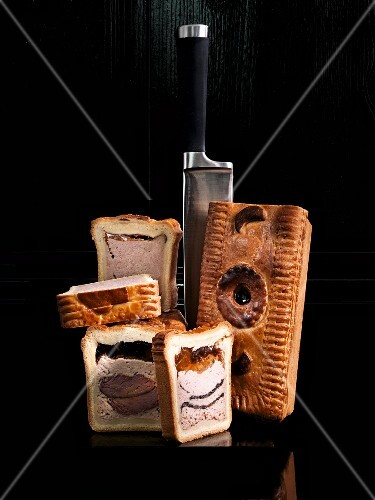 Meat pies with a knife