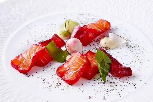 Norwegian salmon with radish and beetroot