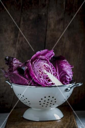 Red cabbage in a colander