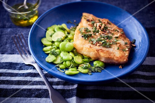 Cod with fava beans