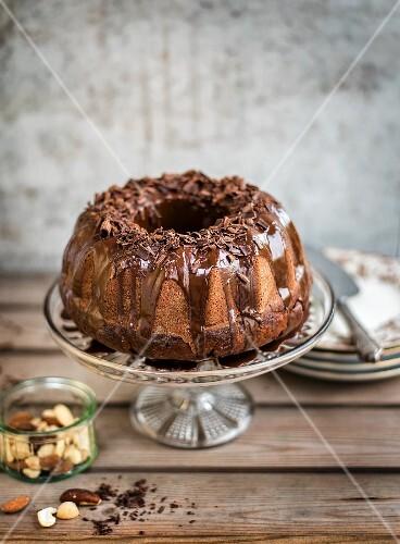 Chocolate Bundt cake with a chocolate glaze and chocolate curls